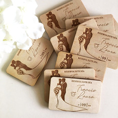 Personalized Happy Couple Wooden Save-the-date Magnets
