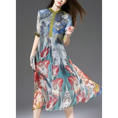 Silk With Print Midi Dress (199132441)