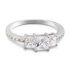 Sterling Silver Cubic Zirconia Three Stone Princess Cut Engagement Rings Promise Rings -