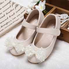 Girl's Leatherette Flat Heel Closed Toe Flats With Bowknot Velcro (207102005)