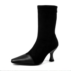 Women's Suede Stiletto Heel Boots Mid-Calf Boots With Split Joint shoes
