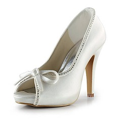 Women's Satin Cone Heel Peep Toe Platform Sandals With Bowknot Rhinestone
