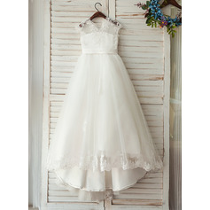 A-Line Sweep Train Flower Girl Dress - Tulle/Lace Sleeveless V-neck With Sash