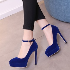 Women's Suede Stiletto Heel Pumps Platform With Buckle shoes