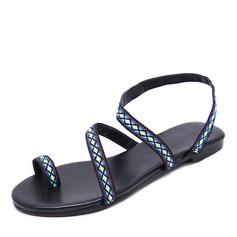 Frauen Kunstleder Flascher Absatz Sandalen Flache Schuhe Peep Toe mit Satin Schnürsenkel Schuhe