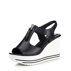 Women's Leatherette Wedge Heel Sandals With Zipper shoes