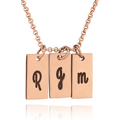 Custom 18k Rose Gold Plated Silver Vertical Three Initial Necklace Nameplate - Birthday Gifts Mother's Day Gifts