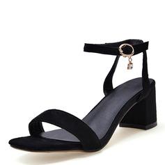 Frauen Kunstleder Stämmiger Absatz Sandalen Absatzschuhe Peep Toe Slingpumps mit Schnalle Schuhe