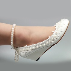 Women's Patent Leather Wedge Heel Closed Toe Pumps With Imitation Pearl Stitching Lace Flower