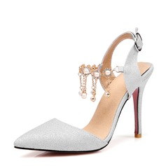 Women's Sparkling Glitter Stiletto Heel Pumps Closed Toe With Chain shoes (085166942)