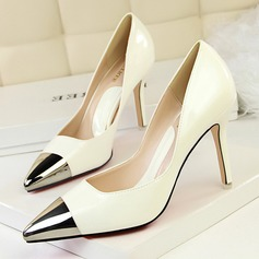 Women's Patent Leather Stiletto Heel Pumps Closed Toe With Split Joint shoes (085114797)