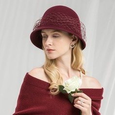 Ladies' Beautiful/Fashion/Elegant/Nice Wool With Tulle Floppy Hat