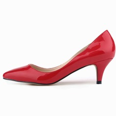 Women's Patent Leather Kitten Heel Pumps Closed Toe shoes (085059021)