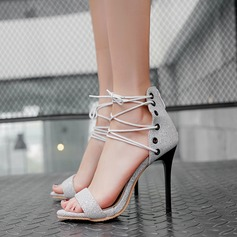 Women's Leatherette Stiletto Heel Sandals Pumps Peep Toe With Lace-up shoes