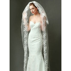 Two-tier Chapel Bridal Veils With Lace Applique Edge