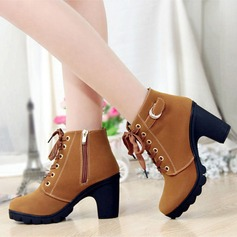 Women's Suede Chunky Heel Pumps Platform Boots Ankle Boots With Zipper Lace-up shoes