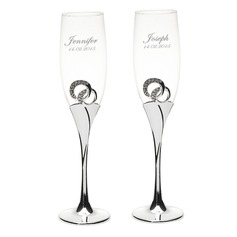 Personalized Zinc Alloy/Glass/Silver Plated Toasting Flutes  (118058273)