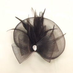 Élégante Strass/Feather/Tulle Chapeaux de type fascinator