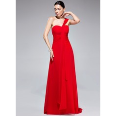 A-Line/Princess One-Shoulder Watteau Train Chiffon Evening Dress With Ruffle