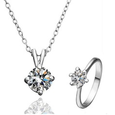 Exquisite Silver Plated With Rhinestone Ladies' Jewelry Sets
