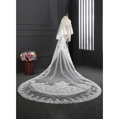 Two-tier Lace Applique Edge Cathedral Bridal Veils With Lace (006114029)