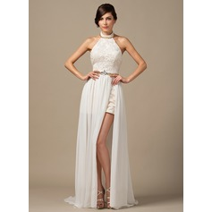A-Line/Princess Halter Court Train Chiffon Lace Prom Dress With Beading