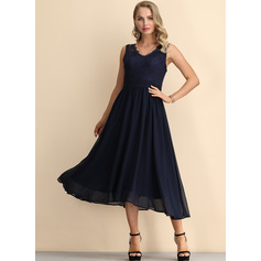A-Line V-neck Tea-Length Chiffon Homecoming Dress