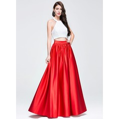 A-Line/Princess Halter Floor-Length Satin Sequined Prom Dress With Ruffle