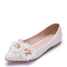 Women's Leatherette Flat Heel Closed Toe Flats With Flower