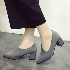 Women's Suede Chunky Heel Pumps Closed Toe Boots Ankle Boots With Others shoes