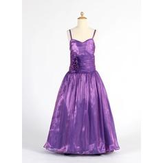 Forme Princesse Longueur ras du sol Robes à Fleurs pour Filles - Organza Sans manches Amoureux avec Plissé/Fleur(s)