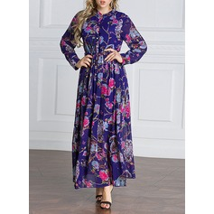 Chiffon With Stitching/Print Maxi Dress (199135568)