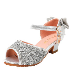 Girl Peep Toe Microfiber Leather Flower Girl Shoes With Bowknot Buckle Rhinestone