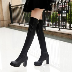 Women's PU Chunky Heel Boots Knee High Boots With Zipper shoes
