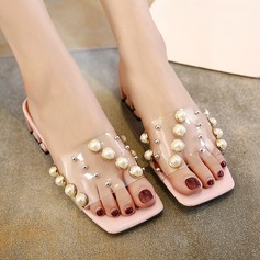 Women's PVC Low Heel Slippers With Imitation Pearl Rivet shoes