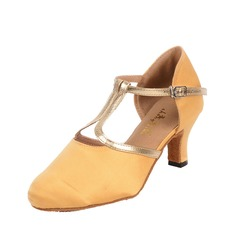 Women's Satin Leatherette Heels Ballroom With T-Strap Dance Shoes