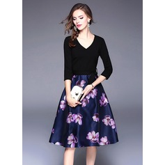 Polyester With Stitching/Print Knee Length Dress (199137148)