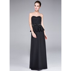 Sheath/Column Sweetheart Floor-Length Chiffon Evening Dress With Bow(s) Cascading Ruffles