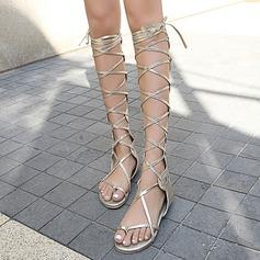 Femmes Similicuir Talon plat Sandales Chaussures plates À bout ouvert avec Dentelle Ouvertes chaussures (087168482)