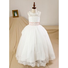 Ball Gown Floor-length Flower Girl Dress - Tulle/Lace Sleeveless Scoop Neck With Bow(s)/Back Hole (Petticoat NOT included)