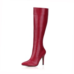 Women's Leatherette Stiletto Heel Pumps Closed Toe Boots Knee High Boots shoes (088095446)