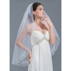 One-tier Beaded Edge Fingertip Bridal Veils With Beading (006109853)