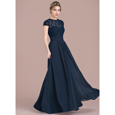 A-Line/Princess Sweetheart Floor-Length Chiffon Lace Bridesmaid Dress With Ruffle (007104704)