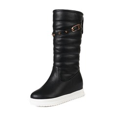 Women's Leatherette Low Heel Closed Toe Boots Mid-Calf Boots Snow Boots With Rivet Buckle shoes