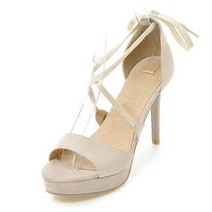 Femmes Suède Talon stiletto Sandales Plateforme avec Dentelle chaussures