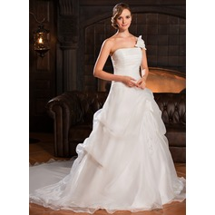 Ball-Gown One-Shoulder Cathedral Train Organza Wedding Dress With Ruffle Flower(s) (002022678)