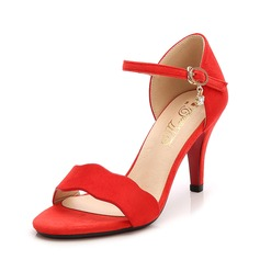 Women's Suede Stiletto Heel Sandals Pumps Peep Toe With Chain shoes