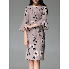 Polyester With Stitching/Print Knee Length Dress (199127744)