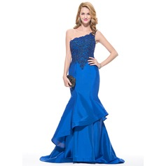 Trumpet/Mermaid One-Shoulder Sweep Train Taffeta Prom Dress With Beading Appliques Lace Sequins Cascading Ruffles
