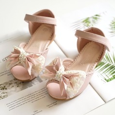 Jentas Titte Tå Leather flat Heel Flate sko Flower Girl Shoes med Bowknot Velcro